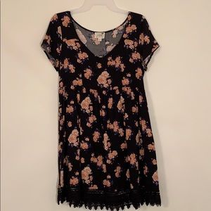 LA Hearts Floral Dress Navy and Pink